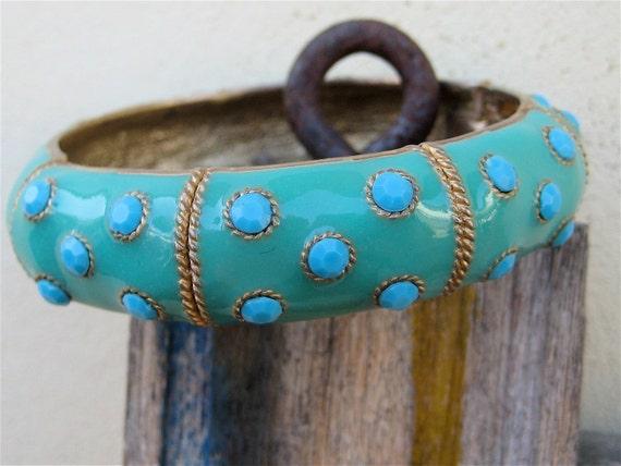RESERVED For Katya/Vintage Enamel Bracelet Hinged Bangle