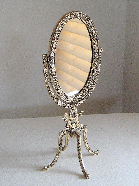 Hollywood regency vanity mirror free standing for Vanity stand