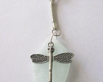 Keychain Dragonfly Beach Glass, Sea Glass, Seaglass, Genuine Sea Glass