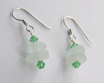Sea Glass Earrings, Crystal Jewelry, Beach Glass Dangle Earrings, Sea Glass Jewelry, Drop Earrings, Gift for Her