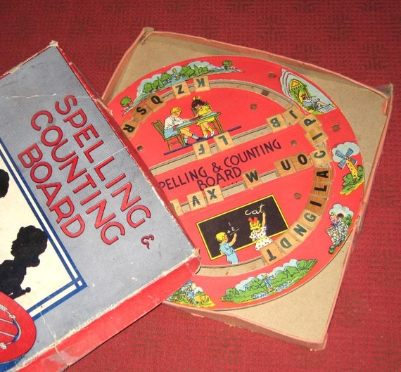 spelling counting game vintage spelling and counting board in original box 2980