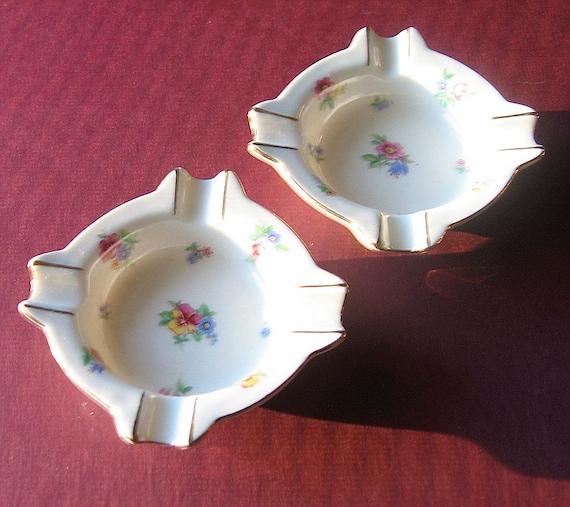 Floral Porcelain Ashtray Set Vintage Trinket Dish Teabag Holders