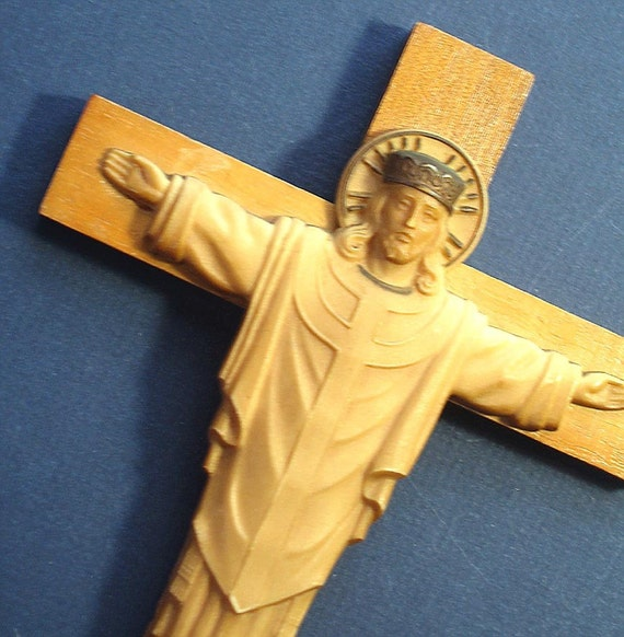Wood Crucifix with Jesus Vintage Wall Hanging