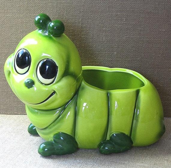 Green Caterpillar Planter Vintage Adorable Relpo