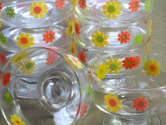 Mod Vintage Ice Cream Dishes, Dessert Bowls, Stemmed Bowls, SET OF EIGHT, Retro Flowered Glassware