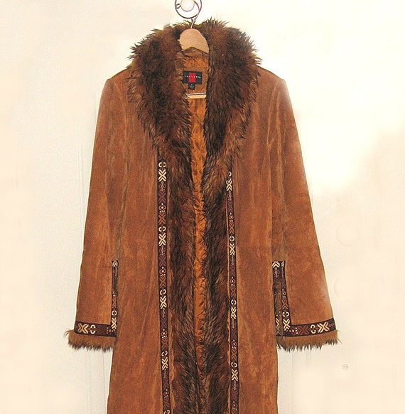 Real Suede Coat Fully Lined Faux Fur Trim Hippie Vintage Style