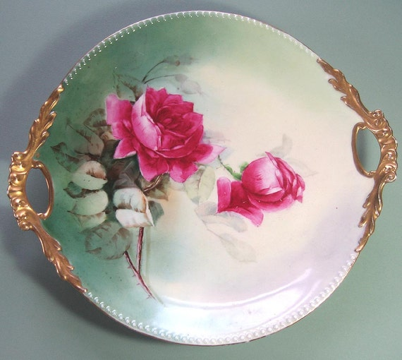 Limoges Plate, Signed Limoges Plate, Limoges Rose Plate, Jean Pouyat Limoges Plate,  Hand Painted Artist Signed Cake Plate, Pink Rose Plate