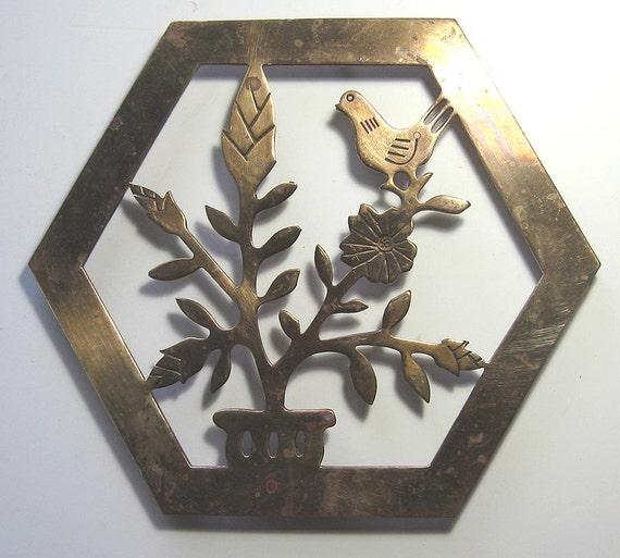 Brass Bird Trivet Vintage Pot Holder
