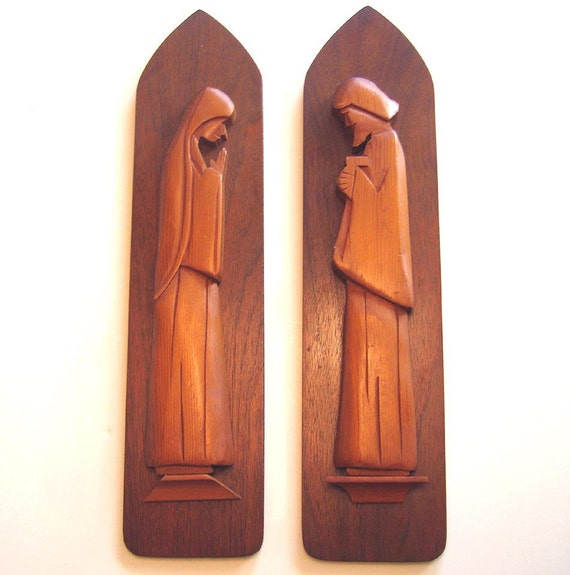 Mary and Joseph Wall Decor, Vintage Religious Carved Wall Hangings, Vintage Religious Decor