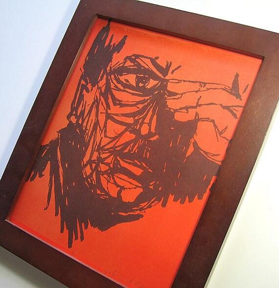 Orange Man Vintage Framed Blockprint Art