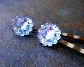 Vintage Blue Glass Hairpins
