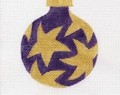 Gold stars on Purple Needlepoint Ornament - Jody Designs  B7G