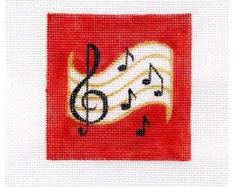 Musical Small Square Needlepoint B34  4x4 - Jody Designs