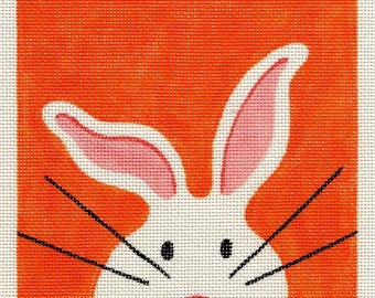 LARGE - White Bunny Needlepoint - Orange  7 x 7  Square - Jody Designs   S9 Also available in other colors