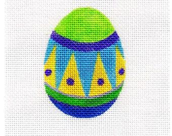 Small Needlepoint Egg - Jody Designs   Green top