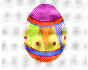 Small Needlepoint Egg - Jody Designs   Pink top
