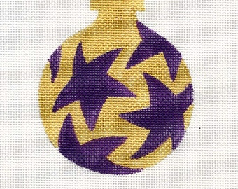 Purple stars/gold background Needlepoint Ornament - Jody Designs B7H