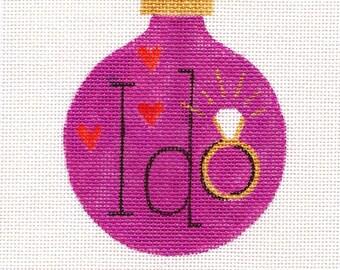 I Do Pink Needlepoint Ornament - Jody Designs    B107B