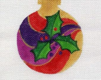 Holly Swirl Needlepoint Ornament - Jody Designs B83A