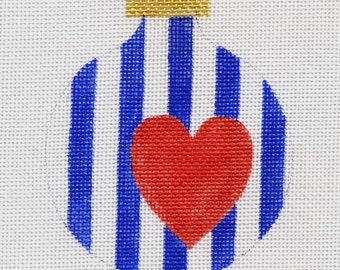 Heart and Stripes/Nautical Needlepoint Ornament - Jody Designs   B105F
