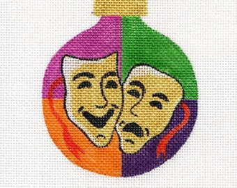Comedy and Tragedy Needlepoint Ornament - Jody Designs B73