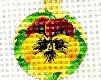 Pansy / yellow and rust Needlepoint Ornament - Jody Designs  B43C
