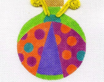 Ladybug with Pink and Orange Dots Needlepoint Ornament - Jody Designs BL2