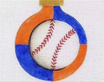 Mets Baseball Needlepoint Ornament - Jody Designs    B140 Mets baseball