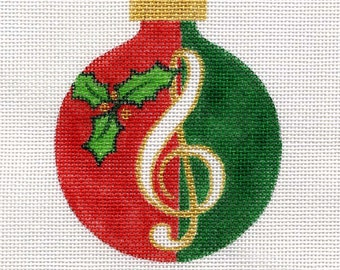 Christmas Musical Clef Needlepoint Ornament - Jody Designs     A24