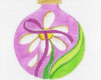 Daisy and Pink Ribbon Needlepoint Ornament - Jody Designs  B170