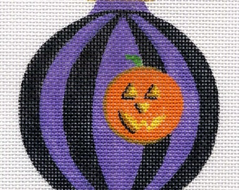 Pumpkin Purple and Black Stripes Needlepoint Ornament - Jody designs B10-03