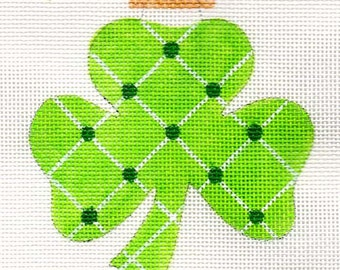 Shamrock Green Dots Needlepoint Ornament -  Jody Designs  B191 Green dots