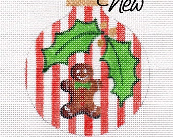 Little Gingerbread Man with Holly Needlepoint Ornament  - Jody Designs    B213