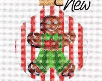 Gingerbread Boy Needlepoint Ornament - Jody Designs       B211