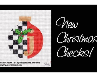 Christmas Alphabet Needlepoint with Checks - All letters available/custom colors too - Jody Designs