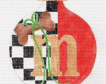 Checkers Alphabet Letter with Small Dog Bone Needlepoint Ornament All Letters available - Jody Designs   A2