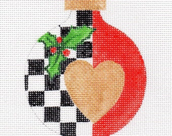 Gold Heart Check with Holly Needlepoint Ornament - Jody Designs  A22