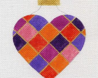 Harlequin Valentine Heart Needlepoint Ornament - Jody Designs   H17