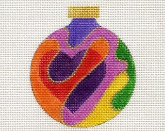 Hearts Colorful Needlepoint Purple Top - Jody Designs  B13