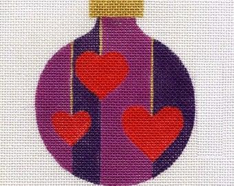 Red Hearts Three Needlepoint Ornament - Jody Designs   B2-00