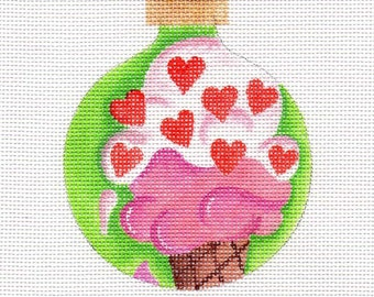 Valentine Ice Cream Needlepoint Ornament - Jody Designs   B218