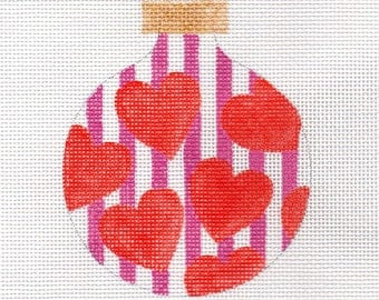 Red Hearts Pink Stripes Needlepoint Ornament - Jody Designs  B215