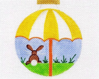 Bunny with Yellow and White Umbrella Needlepoint Ornament - Jody Designs B4-01