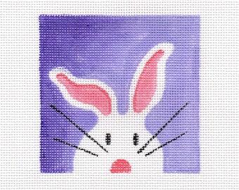 White Bunny Needlepoint Square - Jody Designs   WB1 square purple