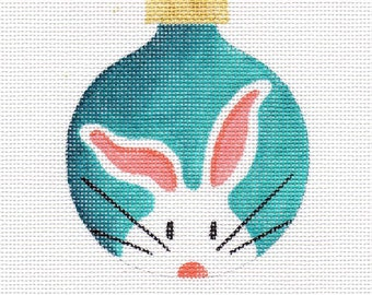 White Bunny Needlepoint Ornament - Jody Designs  WB1 turquoise