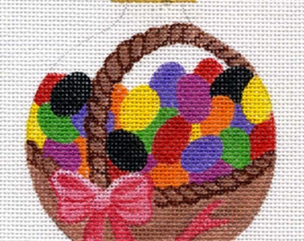 Jelly Bean Basket Needlepoint Ornament - Jody Designs  B20