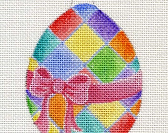 Harlequin Egg Needlepoint Ornament - Jody Designs  B22