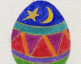 Moon and Star Egg Needlepoint Ornament - Jody Designs   B24