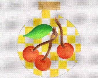 Cherries with Yellow Checks Needlepoint Ornament - Jody Designs  B219B