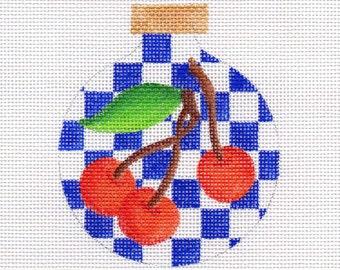 Cherries with Blue Checks Needlepoint Ornament - Jody Designs  B219A